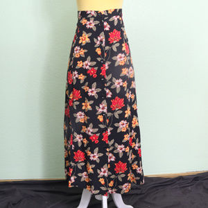 Sag Harbor Skirt Black Floral Maxi Long Sz Large