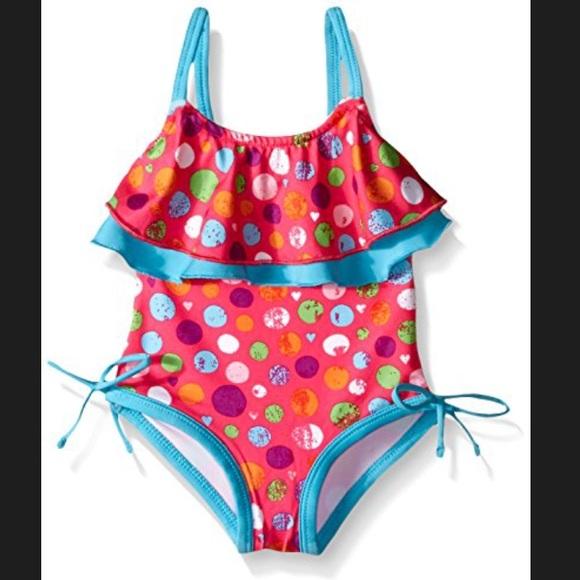 Pink Platinum Girls Dotted Tankini Swimsuit