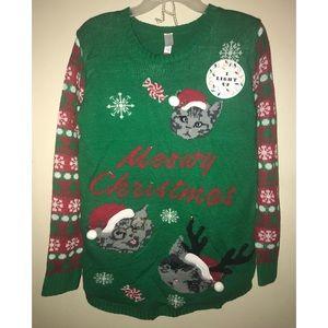 NWT Light Up Meowy Christmas Holiday Sweater NWT