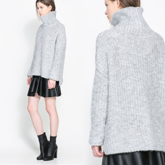 1919718145ce2 ZARA KNIT light grey turtleneck sweater. M 59f41c4ec284563238003592