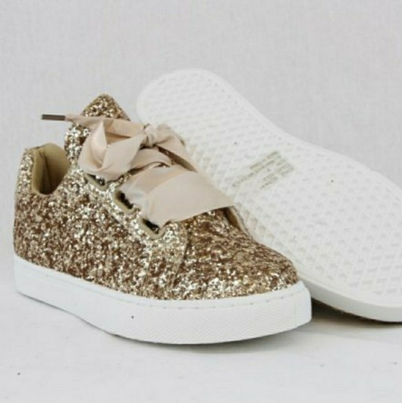 Women Sequin Glitter Sneakers gold size 8 29cdf59c3