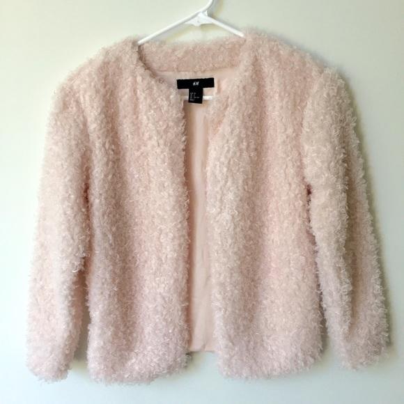 f7db13f02 H&M Light Pink Furry Fuzzy Jacket Size 2