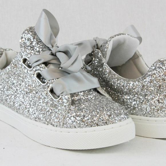 f510d06841fd Women Sequin Glitter Sneakers laceup Silver sz 7.5