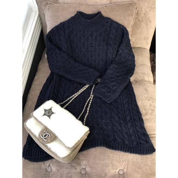 9d1826913a1 Zara Dark Blue Twist Knit Wool Sweater Dress M. M 59f42d93f739bc0c40004920