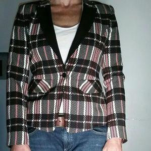 1. STATE plaid tuxedo jacket