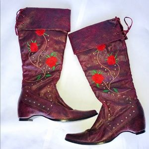 Shoes - High boots with flower design