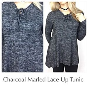 Soft Flowy Marled Lace Up Tunic Top SM