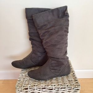 Grey Faux Suede Slouchy Boots
