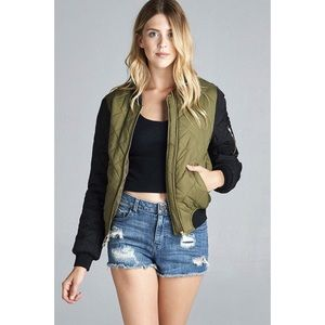 LAST ONE!! Olive & Black Quilted Bomber Jacket