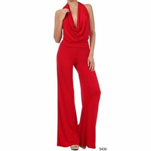 Multi Way Red Women's Jumpsuit Romper Pants S M L