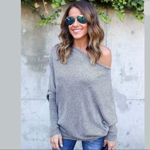 Tops - New!! Slouchy and sexy boat neck bat wing jumper