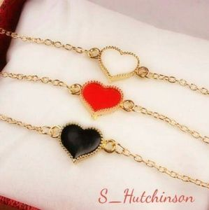 Jewelry - 💥Flash Sale💥White, Red & Black Heart Bracelets