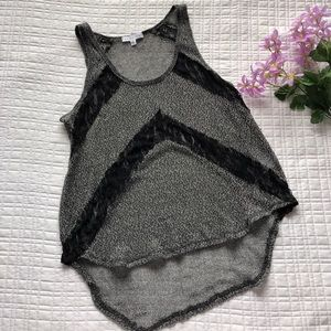 Socialite sheer gray and black tank top
