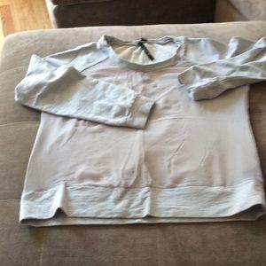 Sheer front back gray sweatshirt