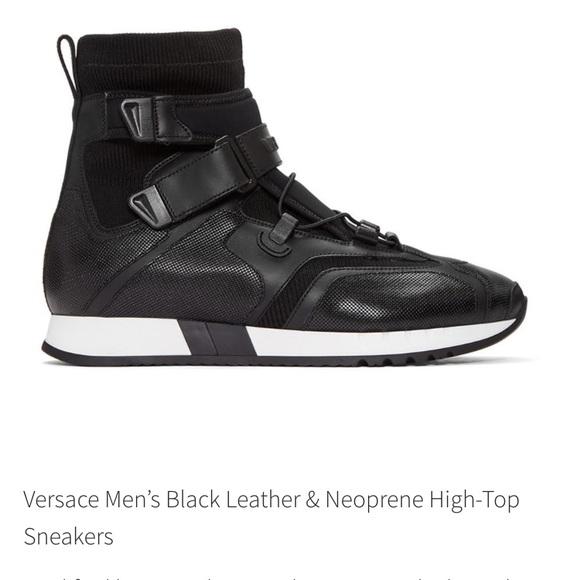 e0c37e966 Versace Men Blk Leather Neoprene High-Top Sneakers.  M 59f4a6483c6f9f229d0141d0
