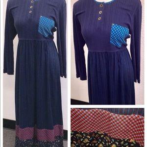 Carole Little Dark Blue Rayon Maxi Dress Sz 12