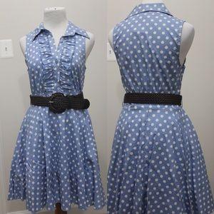 A-line baby blue polka dot dress