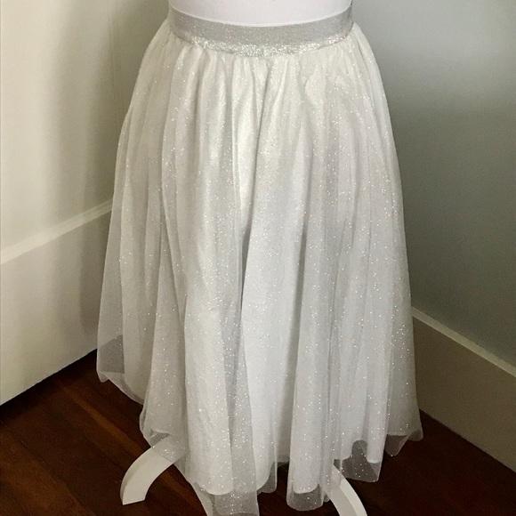 2a2e4b4d65 Zara Skirts | White Glittery Tulle Skirt | Poshmark