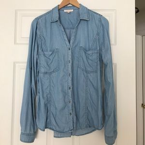 Chambray top by Skies Are Blue