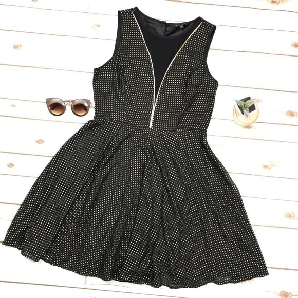 Express Dresses & Skirts   Black Gold Stud Deep V Cocktail Dress ...