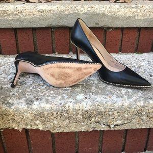 5398084044 Coach Shoes   Leather Heels Bead Chain Black Sz 9   Poshmark