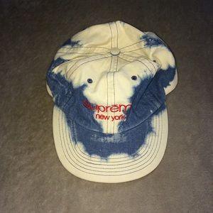 dae88a41460 Supreme Accessories - SUPREME Bleached Denim 5 Panel Camp Hat