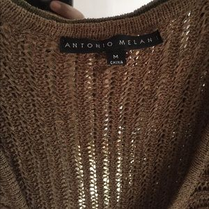 ANTONIO MELANI Tops - Antonio Melani brown crochet knit wrap sweater top