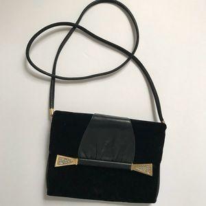 Vintage Neiman Marcus black leather velvet purse