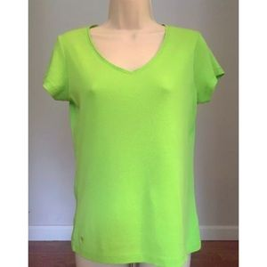 LILLY PULITZER Chartreuse V-Neck Palm Tree T-Shirt