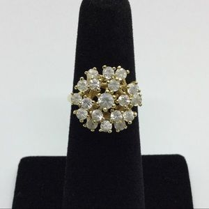 Jewelry - A Bouquet of Faux Diamonds, 14k Solid Y/G Ring!