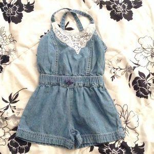 Toddler Girl's Blue Jean Denim Shorts Romper 2T