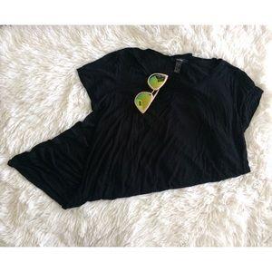 FOREVER21 black short sleeve light swing dress