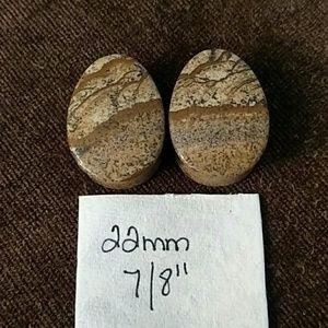 "Jewelry - Picture Jasper natural stone plugs 22mm 7/8"""