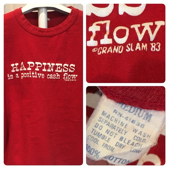 Vintage Happiness is Positive Cash flow funny graphic t-shirt