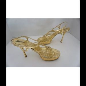 YSL Gold Strappy Mirror Sandals - Evening Shoes