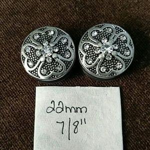 "Jewelry - Pretty silver 22mm 7/8"" plugs"