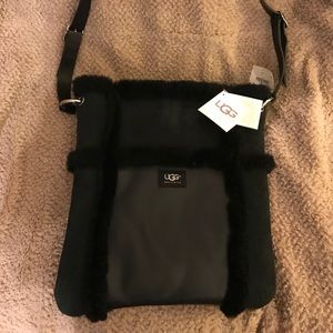 NWT UGG black leather and shearling bag!