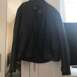 Other - Black leather riding coat