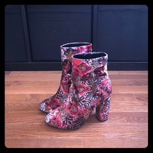 Shoes - Velvet Patterned Booties