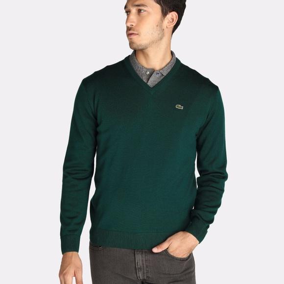 3f3746652350 Lacoste Men s Seg 1 Cotton Jersey V-Neck Sweater
