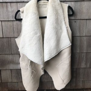 Blank NYC ivory vegan leather and faux fur vest.