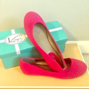 Shoes - Brand New Fuchsia Studded Flats Size 6