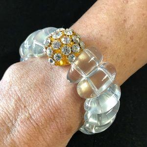 Jewelry - Shiny Bling! Crystal Dome Resin Stretchy Bracelet!