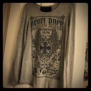 Rebel Rock Long Sleeve Shirt-gray/Black
