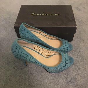 Enzo Angiolini Blue Peep Toe Heels