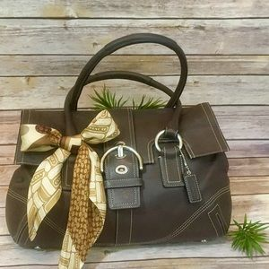 COACH BROWN LEATHER HANDBAG