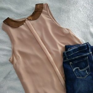 Peter Pan Copper Neck Rose Pink Sleevless Blouse