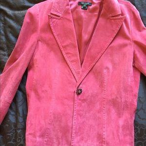 Pink leather blazer size large