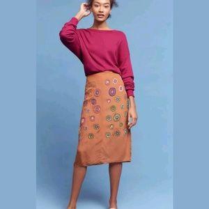 NEW Anthropologie Arancia Applique Skirt, SZ 6
