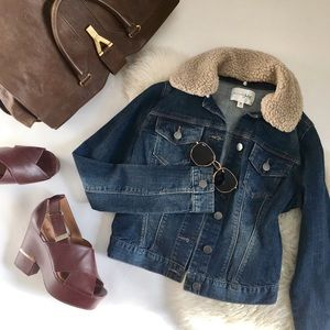 Jean Jacket with Removable Shearling Collar